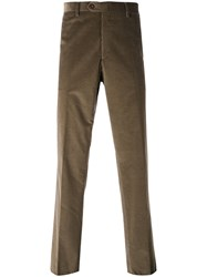Brioni Corduroy Trousers Men Cotton Spandex Elastane 46 Brown