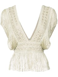 Patbo Fringe Crochet V Neck Top Nude And Neutrals