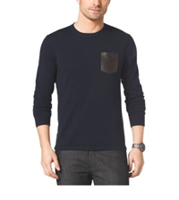 Michael Kors Leather Pocket Crewneck Sweater Midnight