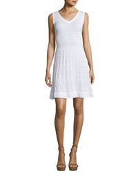 M Missoni Sleeveless Solid Zigzag Knit Fit And Flare Dress White