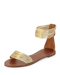 Tory Burch Mignon Rings Strappy Flat Ankle Wrap Sandal Gold