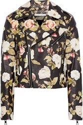 Alice Olivia Woman Cody Cropped Floral Print Leather Biker Jacket Multicolor