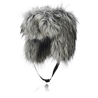 Imposter Women's Faux Fur Trapper Hat Grey