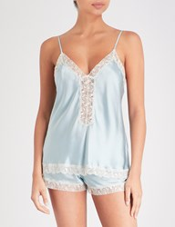 Nk Imode Urban Silk Satin And Lace Camisole Gossamer Green