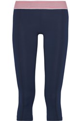 Olympia Activewear Nusa Stripe Trimmed Stretch Jersey Leggings Midnight Blue
