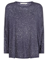 Nougat London Nougat Devore Print Jersey Top Navy