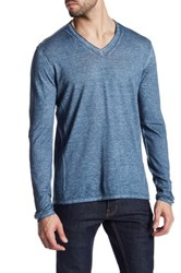 John Varvatos Long Sleeve V Neck Pullover Blue