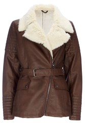 Wallis Chocolate Fur Lined Fly Jacket Brown