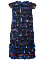Msgm Tweed Shift Dress Blue