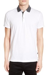 Boss Men's Trim Fit Contrast Collar Polo White