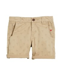 Mayoral Palm Tree Cotton Stretch Shorts Beige