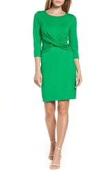 Gibson Petite Knot Front Stretch Knit Body Con Dress Emerald Green
