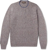 Loro Piana Contrast Tipped Melange Cashmere Sweater Gray