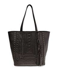 Steve Madden Indie Leather Embossed Tote Black