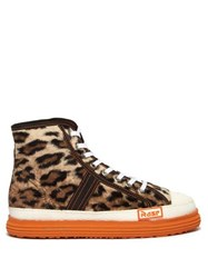 Martine Rose Leopard Faux Fur Basketball Trainers Brown Multi