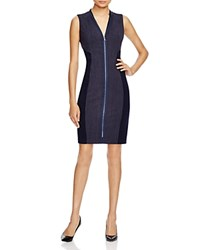 T Tahari Primavera Zip Dress Navy
