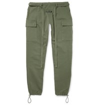 Fear Of God Belted Cotton Cargo Trousers Green