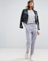 Asos High Waisted Peg Trousers In Summer Check Multi