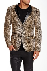 Edge By Wd.Ny Faux Leather Trim Cheetah Print Slim Fit Blazer Multi