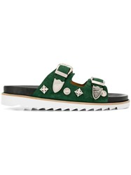 Toga Virilis Two Strap Suede Sliders Green
