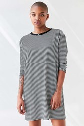Bdg Long Sleeve Striped T Shirt Dress Black And White