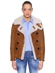 Dsquared Double Breasted Shearling Jacket Camel