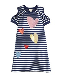 Kate Spade Tossed Hearts Striped Cold Shoulder Dress Multi