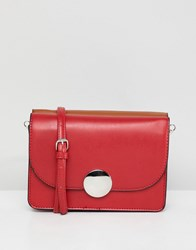 Stradivarius Across Body Bag With Disc Clasp Red
