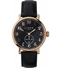 Links Of London Greenwich Rose Gold Plated Watch Black