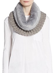 Saks Fifth Avenue Chunky Knit And Faux Fur Infinity Scarf Sleet Grey