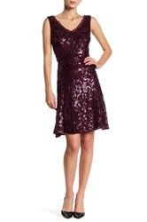 Marina Sequined Mesh Trim Dress Red