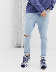 Bershka Join Life Carrot Fit Jeans With Rips And Abrasion In Light Blue