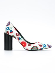 Reinaldo Lourenco Flower Print Pumps Women Cotton 36 White