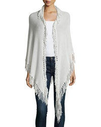 Minnie Rose Cashmere Fringe Trim Wrap Concrete