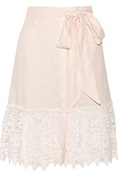 Miguelina Carlene Crocheted Cotton Lace And Linen Skirt Pastel Pink