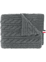 Thom Browne Chunky Cable Cashmere Scarf Grey