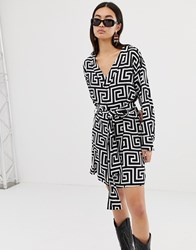 Weekday Wrap Front Geometric Roman Print Dress Greek Graphic Print Multi