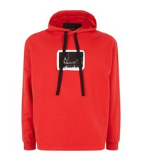 Blood Brother Tower Printed Applique Hoodie Male Red