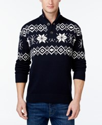 Weatherproof Vintage Snowflake Button Up Mock Neck Pullover Dark Navy