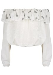 Pinko Pineapple Print Off The Shoulder Cotton Top White