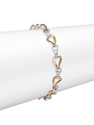 Saks Fifth Avenue 14K Yellow And White Gold Two Tone Oval Link Bracelet