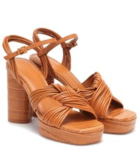 Mercedes Castillo Calisse Leather Platform Sandals Brown