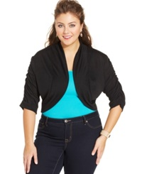 Extra Touch Plus Size Dolman Sleeve Lace Back Bolero Black