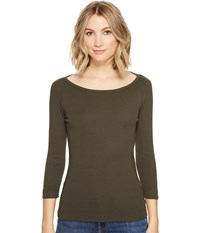 Three Dots Essential British Neck 3 4 Sleeve Top Tapenade Women's Clothing Brown