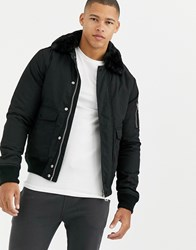 Schott Air Insulated Bomber Jacket Slim Fit With Detachable Faux Fur Collar In Black
