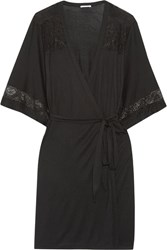 Eberjey Adeline Lace Trimmed Stretch Jersey Robe Black