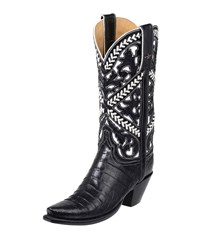 Lucchese Sweetwater Alligator Cowboy Boots Black
