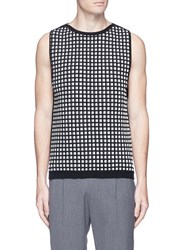Wooyoungmi Textured Grid Knit Vest Multi Colour