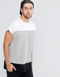 Asos Longline T Shirt With Cut And Sew Stripe In Black White Black White