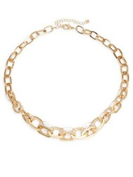 Design Lab Lord And Taylor Crystal Interlocking Link Necklace Gold